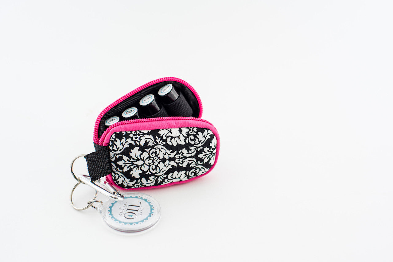 travel sample keychain with essential oils pink damask pattern