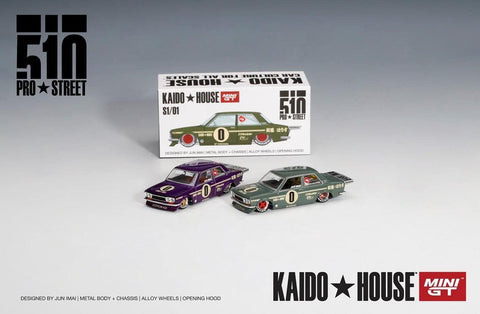 KaidoHouse x MiniGT 1/64 Datsun 510 Pro Street  OG Green & Purple (Set of 2)