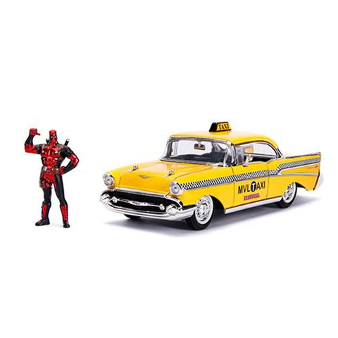 Hollywood Rides 1: 24 Vehicle - Yellow Taxi w/ Deapool Figure