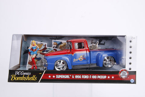 Hollywood Rides 1: 24 Vehicle - 1956 Ford F100 w/ Super Girl Figure