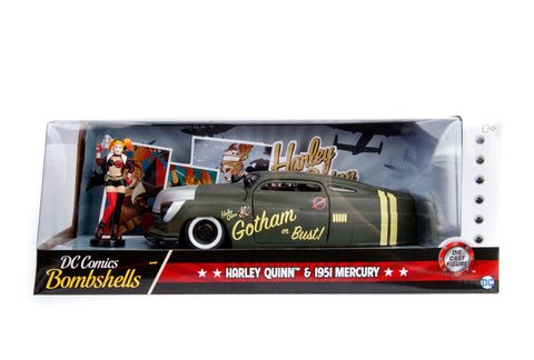 Hollywood Rides 1: 24 Vehicle - 1951 Mercury w/ Harley Quinn Figure