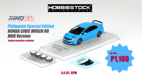 Inno Honda Civic FD2 Mugen RR Light Blue w/ Extra Wheels & Carbon Effect Decals (Philippine Exclusive)