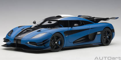 KOENIGSEGG ONE : 1/18 (MATT IMPERIAL BLUE/CARBON BLACK/WHITE ACCENTS)