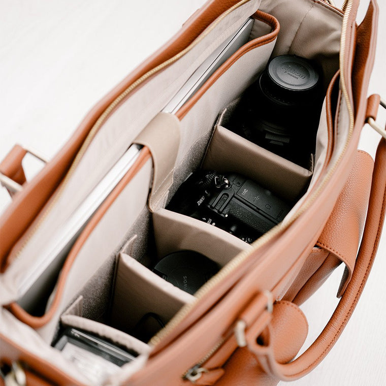 Inside Camera Bag with Padded Dividers for DSLR Camera and Laptop