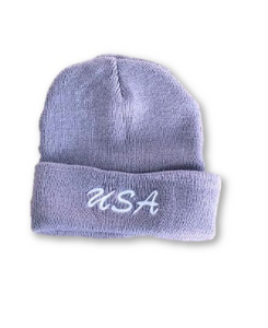 Grey Warning Beanie