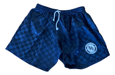 Satin Checkerboard Short - Navy