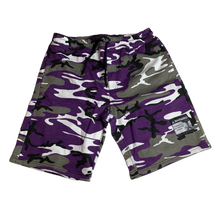 Purple Camo Warning Sweatshorts