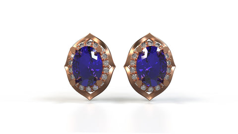 Black-Jack-Studs-Tanzanite-White-Diamond-14k-Rose-Gold-Customized-Stud-Earrings-JEWELv