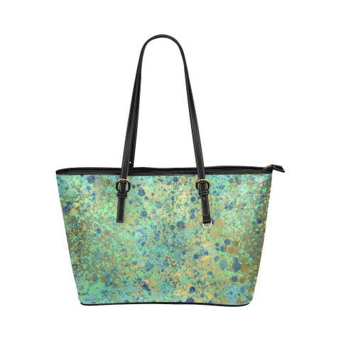 Women's Blues and Gold Patina Design Leather Tote Bag/Small