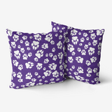 Tiger Paw Prints Pattern White on Purple -  Premium Hypoallergenic Throw Pillow