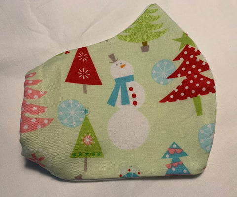 Face Masks in 3D Cone Shape -100% Quilters Cotton -Christmas/ Winter Trees and Snowmen on Light Green Fabric- Adjustable Sizing Face Mask