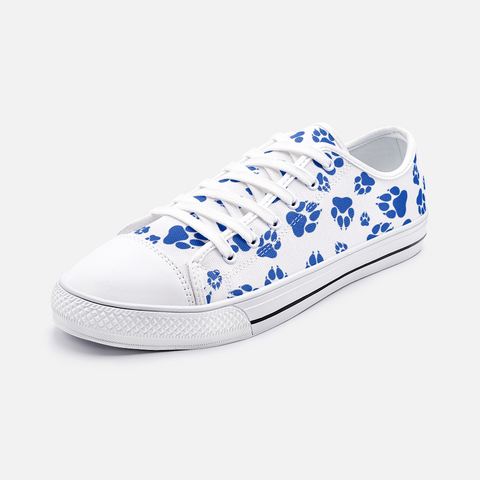 Wildcats Paw Print Pattern Blue on White - Unisex Low Top Canvas Shoes