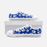 Wildcats Paw Print White on Blue - Unisex Low Top Canvas Shoes