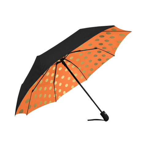 Orange and Gold Dot  Design Auto-Foldable Umbrella (Underside Printing)