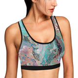 Abstract Painting Design with Rose Gold Flake Women's All Over Print Sports Bra by Hxlxynxchxle