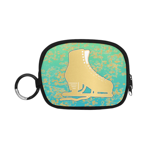 Gold Figure Skate on Mint Gradient with Gold Flakes- Coin Purse