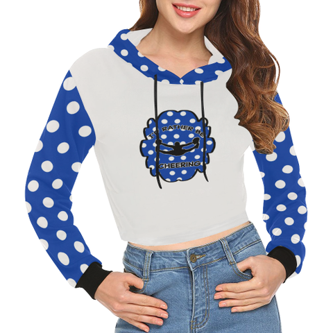 I'd Rather Be Cheering Royal and White Dot Women's Crop Hoodie