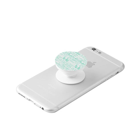 Figure Skating Mint Subway Style Print Graphic- White Collapsible Grip & Stand for Phones and Tablets