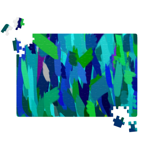 Abstract Digital Painting Design in Blues and Greens Graphic Art Design Jigsaw Puzzels