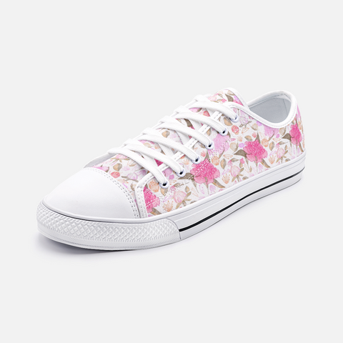 Peonies Abound Pattern in Pinks - Unisex Low Top Canvas Shoes