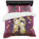 Ballet Shoes Silhouette in Gold with Stars on Berry and Navy Gradient -Duvet-Style 2- With 2 Pillow Shams