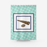 Nautical Telescope on White Netting Design on Mint - Textured Fabric Shower Curtain