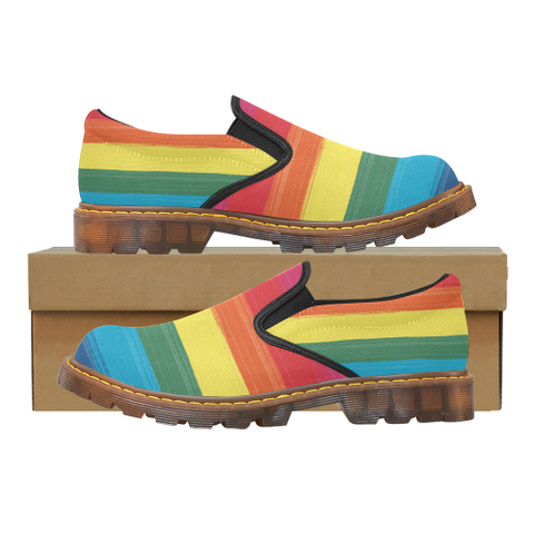 "Women's Rainbow Paint Stroke Design ""Martin"" Style Loafers"