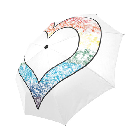 LGBTQ-Pride Distressed-Heart Auto-Foldable Umbrella
