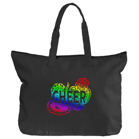 Cheer Zippered Tote Bag