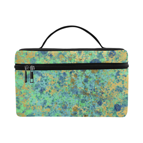 Women's Blues and Gold Patina Design Cosmetic Bag/Large