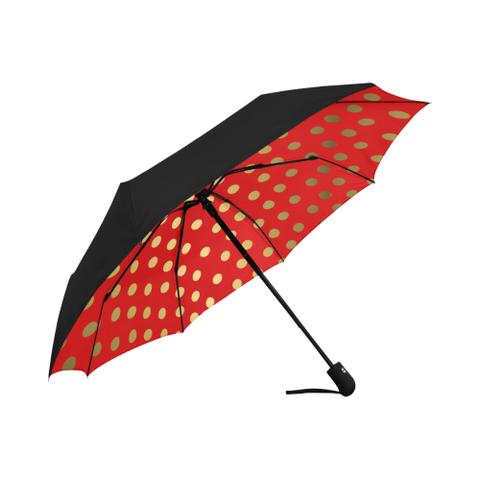 Red and Gold Dot  Underside Design  Auto-Foldable Umbrella (Underside Printing)