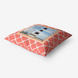 Bodie Island Lighthouse-N.C. Featuring John 8-12 Passage -on Living Coral- Premium Hypoallergenic Throw Pillow