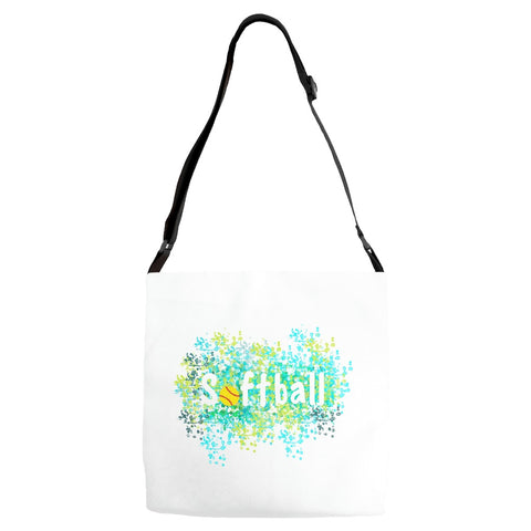 Softball Water Color Inspired Adjustable Tote  Bag Style 2