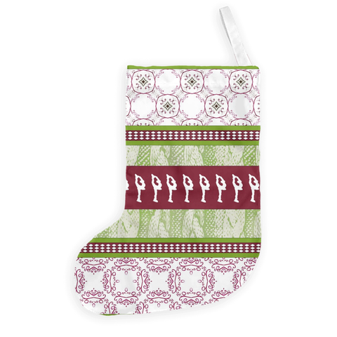 "Figure Skating Christmas Stocking ""Sweater"" Design in Cranberry and Green"