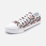Retro Tropical Floral Print in Pink and Cream on Navy- Unisex Low Top Canvas Shoes