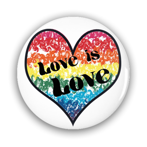 Love is Love Pride Heart Flag Pin-Back Buttons