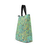 Women's Blues and Gold Patina Design Nylon Lunch Tote Bag