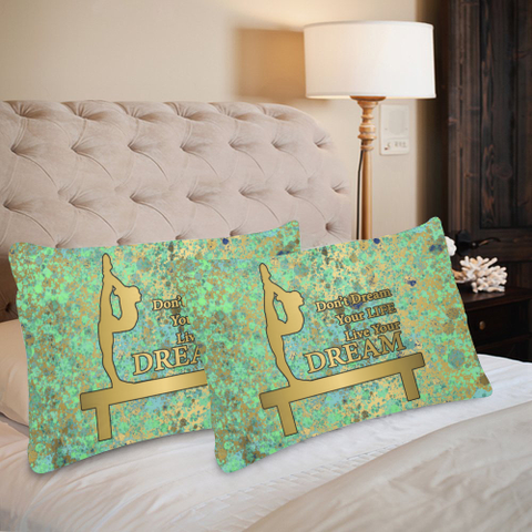 "Gymnastics Dream Blues Gold Patina-Pillow Cases Custom Pillow Case 20""x 30"" (One Side) (Set of 2)"