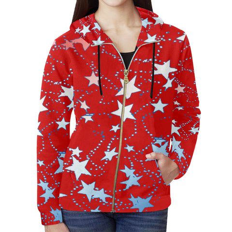 Red, Blue and White Stars All Over Print Full Zip Hoodie for Women
