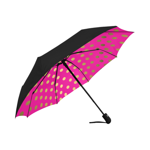 Pink and Gold Dot  Underside Design  Auto-Foldable Umbrella (Underside Printing)