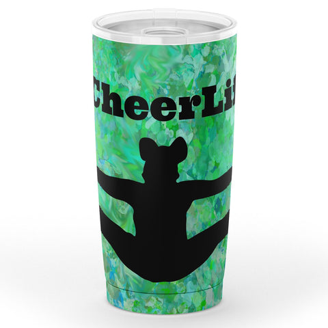 Cheerleading #CheerLife Travel Mug on Abstract Watercolor Background in Turquoise Design
