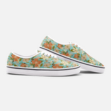 Retro Tropical Floral Print in Orange and Cream on Vintage Aqua - Unisex Canvas Shoes Fashion Low Cut Loafer Sneakers