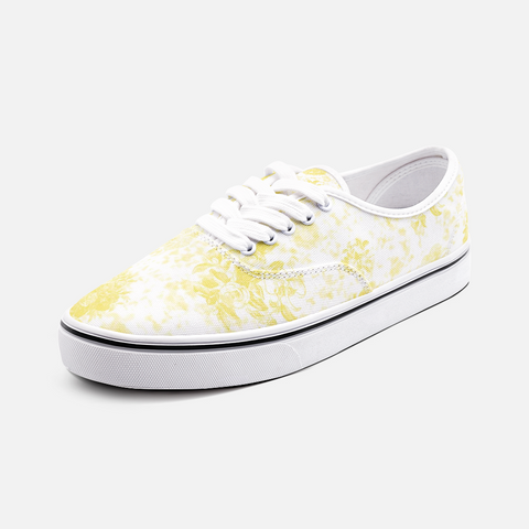 Roses in Illuminating Yellow on White Design -Unisex Canvas Shoes Fashion Low Cut Sneakers