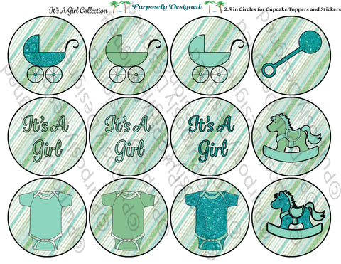 Baby Girl Blue and Green Collection- Printable Party Tags - Cupcake Toppers/Sickers- Printable Party Favors