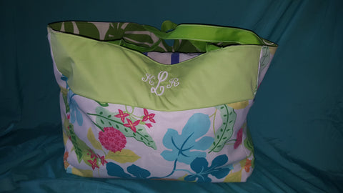 Custom Beach Bag Size Xtra- Large-   Bright Botanical