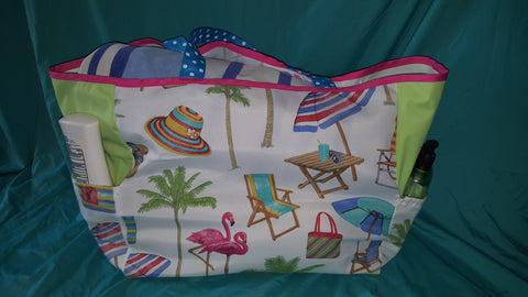 Custom Beach Bag Size  Large-   Day at the Beach Fabric