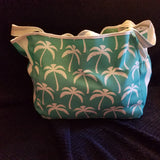 Custom Beach Bag Size Large- Turquoise and White Palm Trees