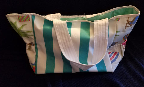 Custom Beach Bag Size Large- Turquoise and White Cabana Stripes with Beach Day Fabric on Sides