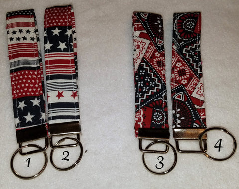 Red, White and Blue Collection  Fabric  Key Fob's