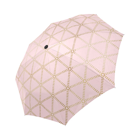 Pastel Pink Gold-Grid Automatic Umbrella Auto-Foldable Umbrella